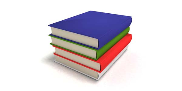 Rysunek przedstawia 4 książki o kolorowych obwolutach, ułożone jedna na drugiej.