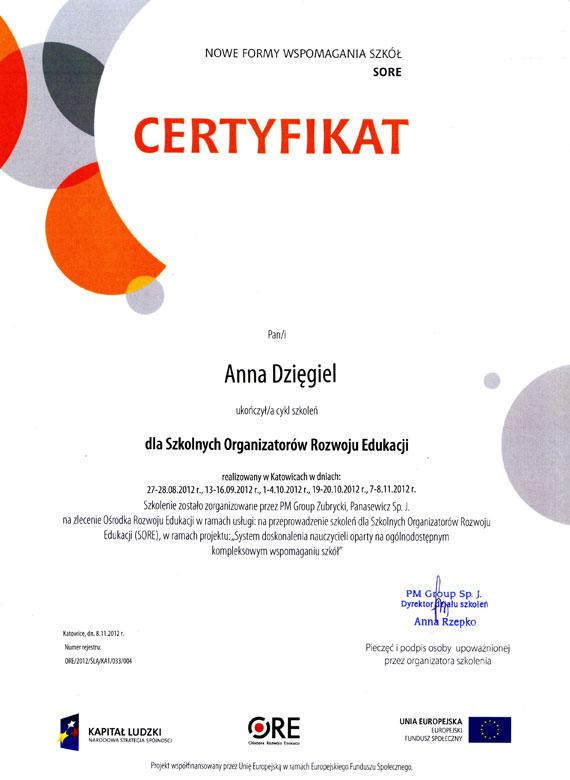 Certyfikat Anna Dzięgiel