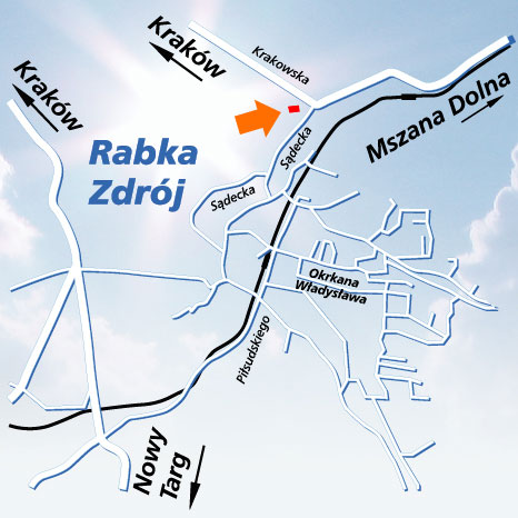Plan dojazdu doOSW Exploris wRabce-Zdrój