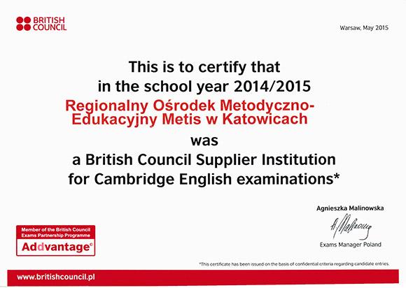 Certyfikat ROM-E Metis wAddvantage British Council