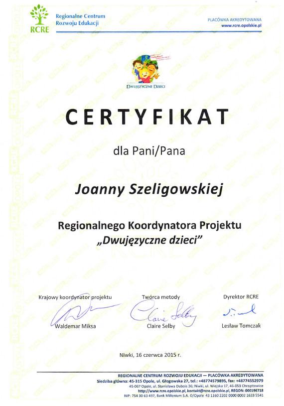 Certyfikat dla Pani Joanny Szeligowskiej