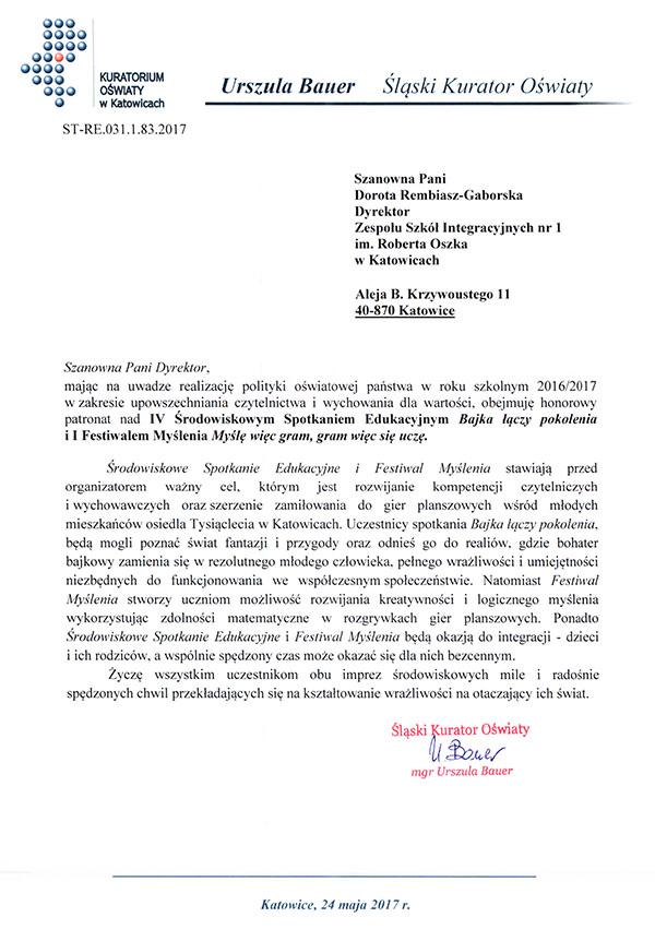 Patronat Kuratorium Oświaty wKatowicach